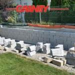 Granit-Mauersteine, grau, Mittelkorn, gesägt-gespalten