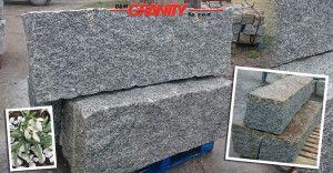 Granit-Mauersteine, grau und grau-gelb