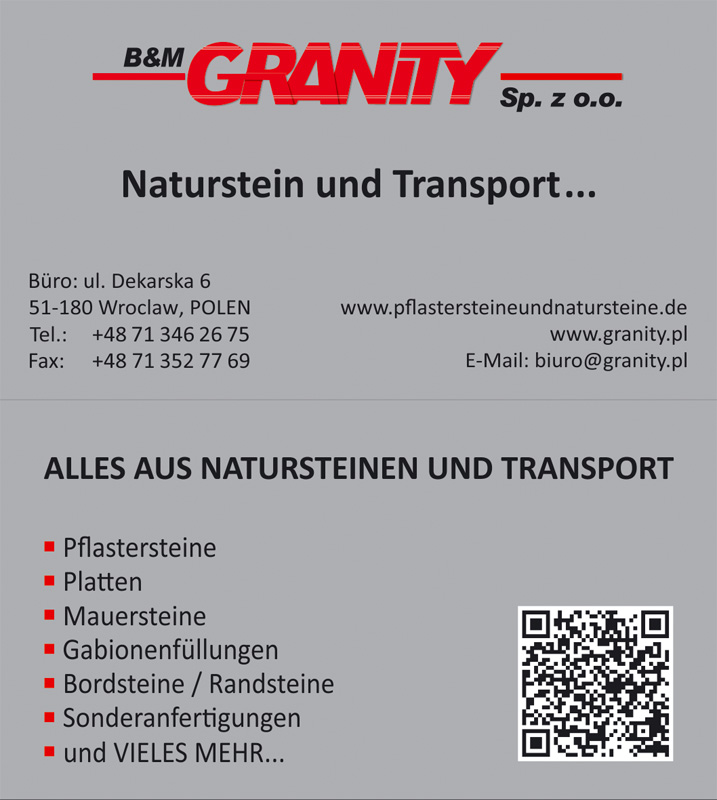 Visitenkarte Firma B M Granity Wyroby Z Granitu